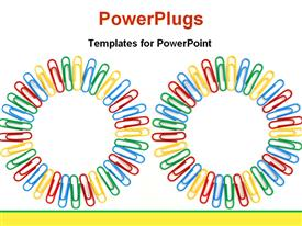 Two circles made by colorful paperclips powerpoint design layout
