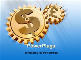 PowerPoint template displaying two golden connected gears with currency symbols euro and dollar