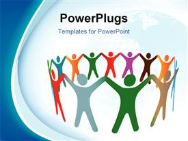 Gradient blend of diverse group of symbol people of many colors hold their hands up in a ring template for powerpoint