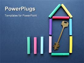 From color slate pencils and a key the symbol of the new house is combined powerpoint theme