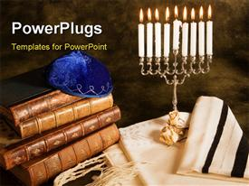Bible prayer shawl Jewish cap and nine candle menorah powerpoint template