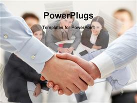 Business handshake after making agreement powerpoint design layout