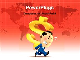 PowerPoint template displaying 3D graphics of an angry man running with a large dollar sign