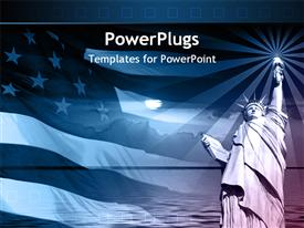 PowerPoint template displaying american flag and the statue of liberty in the background.