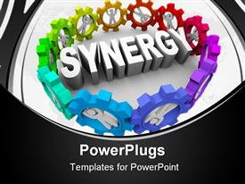 PowerPoint template displaying 3D white synergy word framed by colorful gears with people inside them making gears work