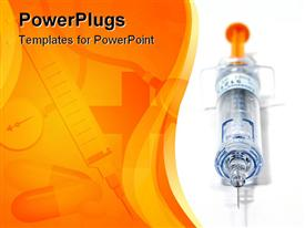 PowerPoint template displaying empty syringe with orange plunger facing the camera in the background.