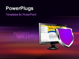PowerPoint template displaying depiction of a system security concept, computer with a shield placed over a blurred motion background