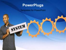 PowerPoint template displaying animated depiction with connected cogwheels and man holding business signpost