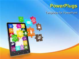 PowerPoint template displaying tablet pc software. Screen from puzzle with icons. 3D in the background.