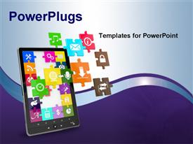 PowerPoint template displaying tablet pc software. Screen from puzzle with icons in the background.