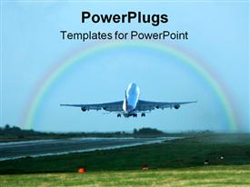 PowerPoint template displaying a beautiful depiction of an airplane taking off with a rainbow in the background
