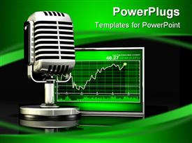 PowerPoint template displaying large silver microphone standing in front of a bright green stock chart in the background.