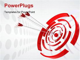 PowerPoint template displaying three red dart hitting the Bulls eye of a red and white target