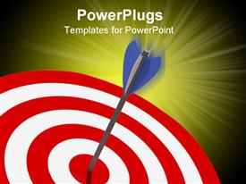 PowerPoint template displaying a dart hitting on target with yellowish background