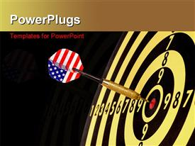 PowerPoint template displaying a dartboard with a dart in the middle and blackish background