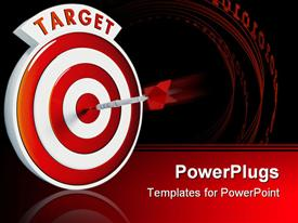 PowerPoint template displaying dart in middle of a target red and white bullseye with dart in center