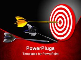 PowerPoint template displaying large gold colored dart on the center of a target