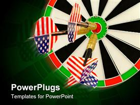 PowerPoint template displaying three darts hitting the center on black ad white dart board