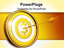 PowerPoint template displaying yellow, white and gold target with yellow dollar sign in the center and gold arrow in the dollar sign's center