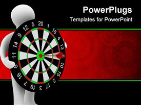 PowerPoint template displaying white human holding dart board with dart on bulls eye