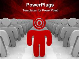 PowerPoint template displaying red colored 3D man with target head leads team of grey 3D men