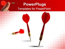PowerPoint template displaying red darts on white and red background