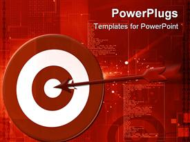 PowerPoint template displaying red arrow hitting the middle of a rd and white dart board