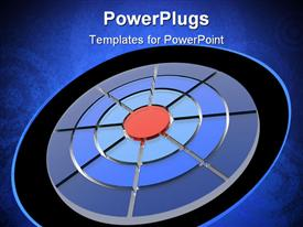 PowerPoint template displaying target from a transparent stone of different color in the background.