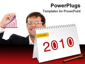 PowerPoint template displaying a financial person with the new year 2010