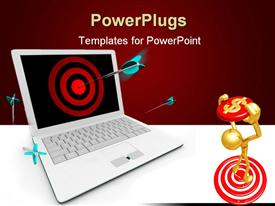 PowerPoint template displaying blue darts piercing center of red target on computer screen