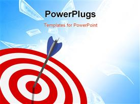 PowerPoint template displaying classic target 3D with arrow metaphoric success background