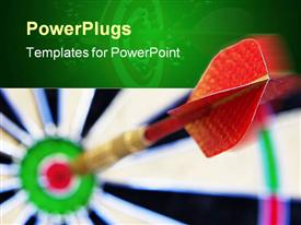 PowerPoint template displaying a large dart in the middle of blurry target