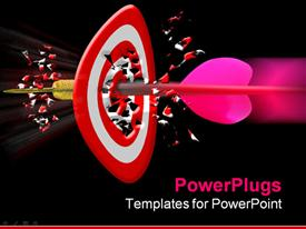 PowerPoint template displaying pink dart piercing though the center of a red dart board