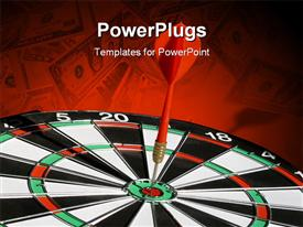 Still-life of a dartboard with a dart right on target powerpoint template