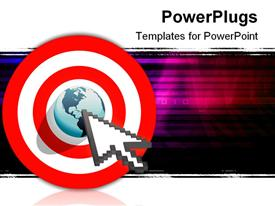 PowerPoint template displaying internet cursor arrow clicks on search engine marketing SEM world in target bulls eye in the background.