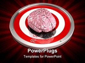 PowerPoint template displaying human brain in the middle of metallic red and white reflective target