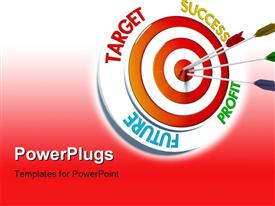 PowerPoint template displaying colored darts stuck in bulls eye of target over red background