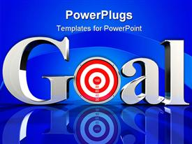 PowerPoint template displaying the word goal with  dartboard instead of o