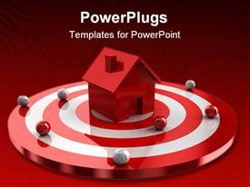 PowerPoint template displaying simple white two-story house