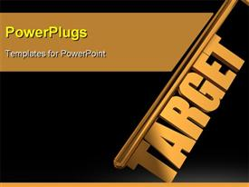PowerPoint template displaying target gold key on black background - Gold key with Target text as symbol for success in marketing