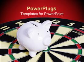 PowerPoint template displaying dart board with piggy bank on target