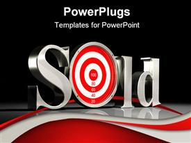 PowerPoint template displaying large metallic letters spelling the word Sold with a red and white target