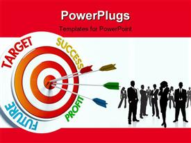 PowerPoint template displaying business professionals with colorful darts stuck in bulls eye of business target
