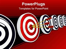 PowerPoint template displaying three red darts in the middle of a red and white dart board