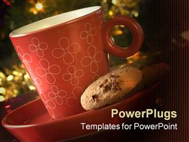 PowerPoint template displaying cup of tea with cookies with Christmas tree for background