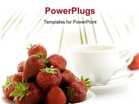 PowerPoint template displaying strawberry palm leaf teapot and white teacup with hot tea