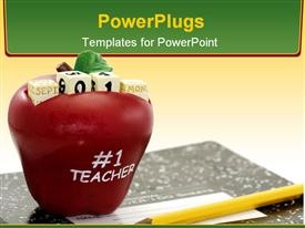 PowerPoint template displaying an apple along with different cubes on it and a lead pencil