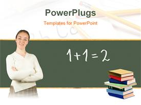 PowerPoint template displaying teacher in front of blackboard with stack of books