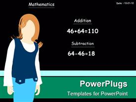 PowerPoint template displaying classroom view showing teacher standing near black chalkboard with math exercises, mathematics addition substraction