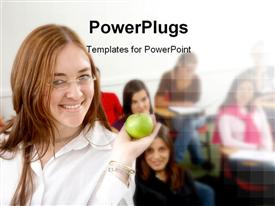 PowerPoint template displaying learning depiction with students in classroom and teacher holding green apple